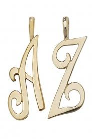 9CT YEL GOLD POLISHED SCRIPT INITIAL PENDANT