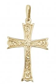 9CT YEL GOLD PATTERNED CROSS PENDANT