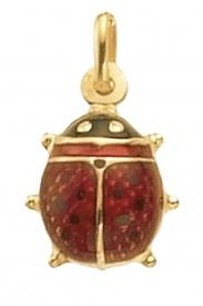 9CT YEL GOLD LRG ENAMEL LADY BIRD PENDANT