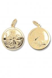 9CT YEL GOLD RND REVERSIBLE ST CHRISTOPHER PENDANT