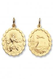 9CT YEL GOLD OVL REVERSIBLE ST CHRISTOPHER PENDANT