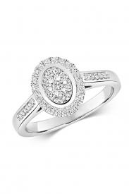 9CT Oval Shape Cluster Diamond Ring