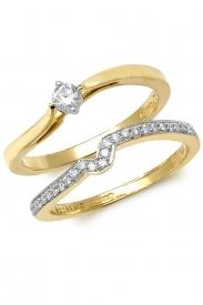 9K Wave Set Diamond Ring