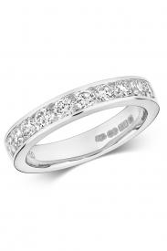 18K 10 Stone 1/2 Eternity Channel Set Ring