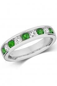 18K Emerald & Diamond Eternity Ring