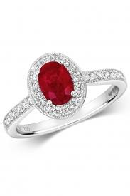 18K Oval Ruby Cluster Diamond Ring