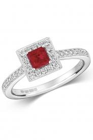 18K Square Ruby Cluster Diamond Ring