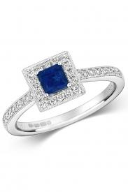 18K Square Sapphire Cluster Diamond Ring