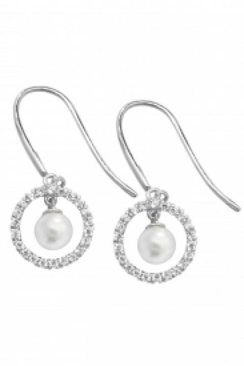 9CT WHT GOLD PEARL CZ FISH HOOK WIRE EARRINGS
