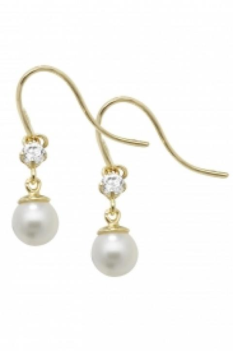 9CT YEL GOLD PEARL CZ FISH HOOK EARRINGS