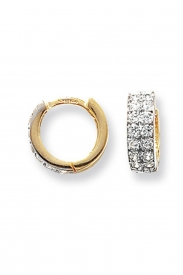 9CT YEL GOLD CZ HINGED EARRINGS
