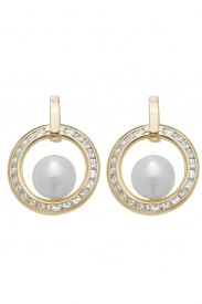 9CT YEL GOLD PEARL CZ STUD EARRINGS