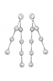 9CT WHT GOLD PEARL CZ DROP EARRINGS