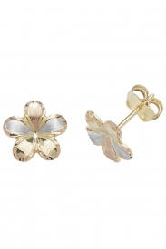 9CT TRI COL GOLD STUD EARRINGS