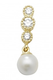 9CT YEL GOLD PEARL CZ DROP STUD EARRINGS