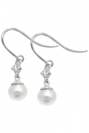 9CT WHT GOLD PEARL CZ FISH HOOK EARRINGS