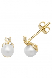 9CT YEL GOLD PEARL+CZ STUD EARRINGS