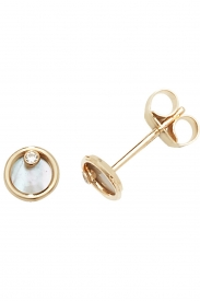 9CT YEL GOLD MOTHER OF PEARL STUD EARRINGS