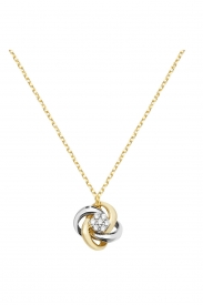 9CT YEL/WHT LADIES GOLD 18 INCHES CZ NCKLT