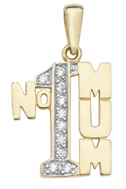 9CT YEL GOLD NO.1 MUM CZ PENDANT