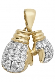 9CT YEL GOLD DBL BOXING LOVE CZ PENDANT