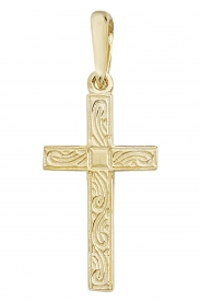 9CT YEL GOLD ENGRAVED CROSS PENDANT