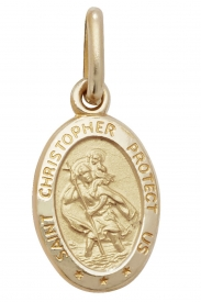 9CT YEL GOLD OVL ST CHRISTOPHER PENDANT