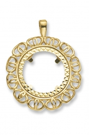 9CT YEL GOLD HALF COIN MOUNT PENDANT