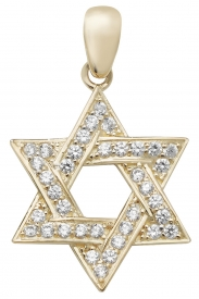 9CT YEL GOLD LRG STAR OF DAVID CZ PENDANT
