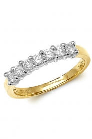 9K 7 Stone Diamond 1/2 Eternity Ring