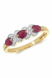 9CT 3 Oval Ruby Diamond Ring