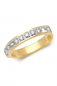 9K 1/2 Eternity Claw Set Diamond Ring