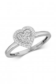 9K Hearts Set Around Diamond Ring