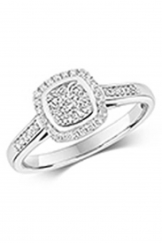 9CT Cushion Shape Cluster Diamond Ring
