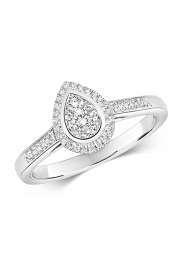 9CT Pear Shape Cluster Diamond Ring