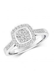 9CT Cushion Cluster Diamond Ring