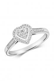 9CT Heart Cluster Diamond Ring