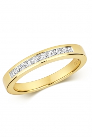 18K Princess Cut 9 Stone Channel Ring