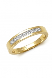 18K Princess Cut 10 Stone Channel Ring