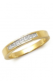 18K Princess Cut 7 Stone Channel Ring
