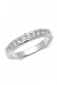 18K 11 Stone 1/2 Eternity Channel Set Ring