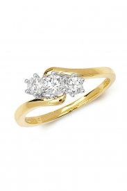 18K 3 Stone Twist Diamond Ring