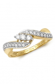 18K 3 Stone Twist Shoulder Set Diamond Ring