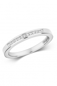 18K Princess Cut 13 Stone Channel Ring