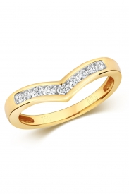 18K Channel Set Wishbone Diamond Ring