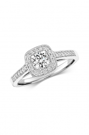 18CT Cushion Halo Diamond Ring