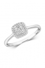 18CT Cushion Shaped Cluster Diamond Ring