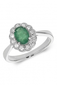 18CT Oval Emerald Cluster Diamond Ring