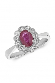 18CT Oval Ruby Cluster Diamond Ring
