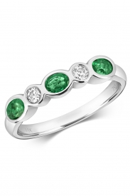 18CT Emerald Rubover Eternity Diamond Ring